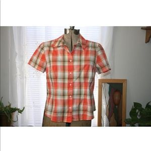 JONES NEW YORK plaid blouse,orange plaid blouse
